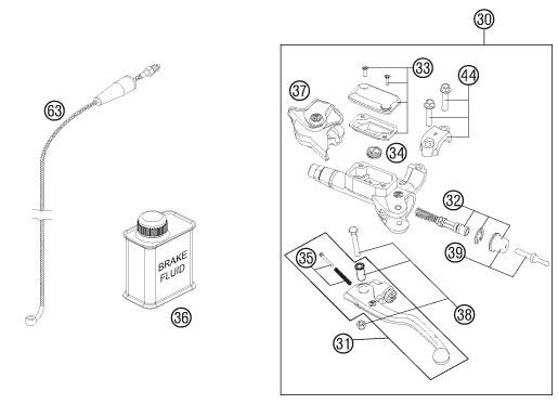 Pancéřová hadice spojky KTM (06-13)