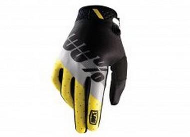 RUKAVICE 100% RIDEFIT MAX černá/šedá/žlutá